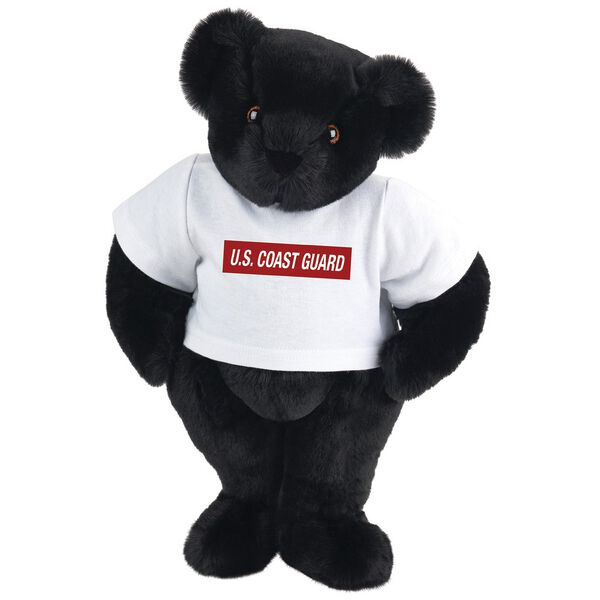 """15"""" Coast Guard T-Shirt Bear - Front view of standing jointed bear dressed in white t-shirt with dark red graphic that says, """"U.S. COAST GUARD"""" - Black fur image number 3"""