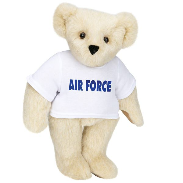 "15"" Air Force T-Shirt Bear - Standing jointed bear dressed in a white t-shirt says, ""AIR FORCE"" in royal blue lettering on the front of the shirt - Buttercream brown fur image number 1"