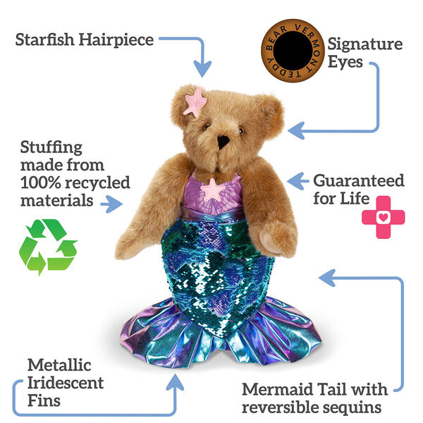 """15"""" Mermaid Bear- Honey bear in outfit, text says """"Starfish Headpiece, Signature Eyes, Guaranteed for Life, Mermaid Tail with reversible sequins, Metallic Iridescent fins, and Stuffing made from 100% recycled materials"""" image number 1"""