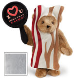 """15"""" I Love You More than Bacon - Front view of standing jointed bear dressed in tan bacon costume holding a pan that says""""I """"heart"""" U more than bacon!"""" - Gray image number 4"""