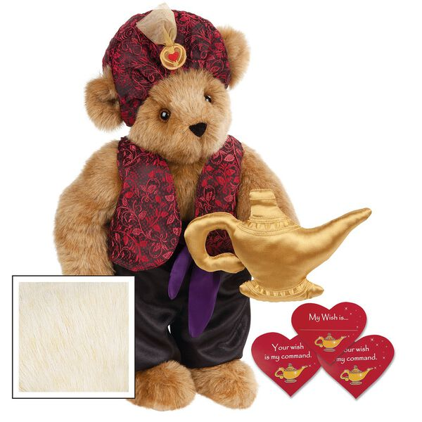 """15"""" Your Wish Is My Command Bear - Front view of standing jointed bear dressed in a red brocade turban and vest, purple belt and black satin pants. Comes with gold genie lamp and 3 wish cards - Buttercream brown fur image number 1"""