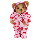 "15"" Hoodie-Footie Sweetheart Bear - Front view of standing jointed bear dressed in pink hoodie footie with red heart patternpersonalized with ""Anne"" in black on left chest - Honey brown fur image number 0"