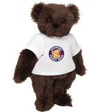 "15"" Classic Vermont Teddy Bear Logo T-Shirt Bear - Front view of standing jointed bear dressed in white t-shirt with Vermont Teddy logo on front - Espresso brown fur image number 4"