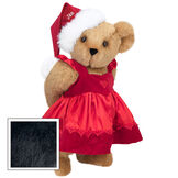 """15"""" Christmas Sweetheart Bear - Standing jointed bear dressed in white red velvet dress with heart lace trim and red velvet santa hat with white fur trim. Hat is personalized with """"Jan"""" above the fur  - Black fur image number 3"""