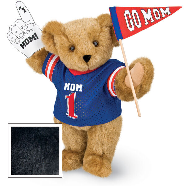 """15"""" Mom's Biggest Fan Bear - Front view of standing jointed bear dressed in a blue shirt with """"Mom 1"""" on front, holding a white foam finger that says """"#1 Mom"""" and a """"Go Mom"""" red flag - Black fur image number 3"""