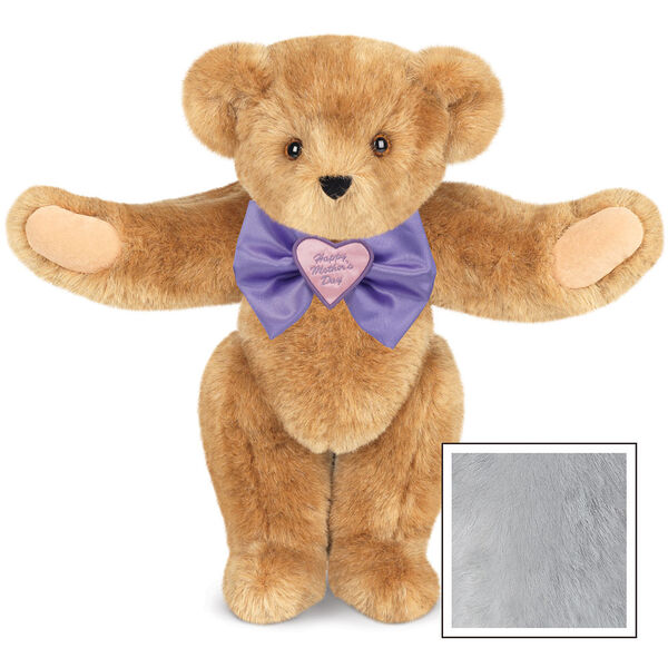 """15"""" Happy Mother's Day Bow Tie Bear - Standing jointed bear dressed in purple satin tie; """"Happy Mother's Day"""" is embroidered on pink satin heart center - Gray image number 4"""