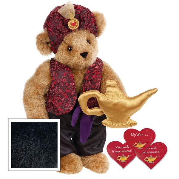 """15"""" Your Wish Is My Command Bear - Front view of standing jointed bear dressed in a red brocade turban and vest, purple belt and black satin pants. Comes with gold genie lamp and 3 wish cards - Black image number 3"""