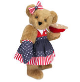 """15"""" All American Mom Bear - Standing jointed bear in a red, white and blue stars and stripes dress with matching head bow and oven mitt holding an apple pie - Honey brown fur image number 0"""