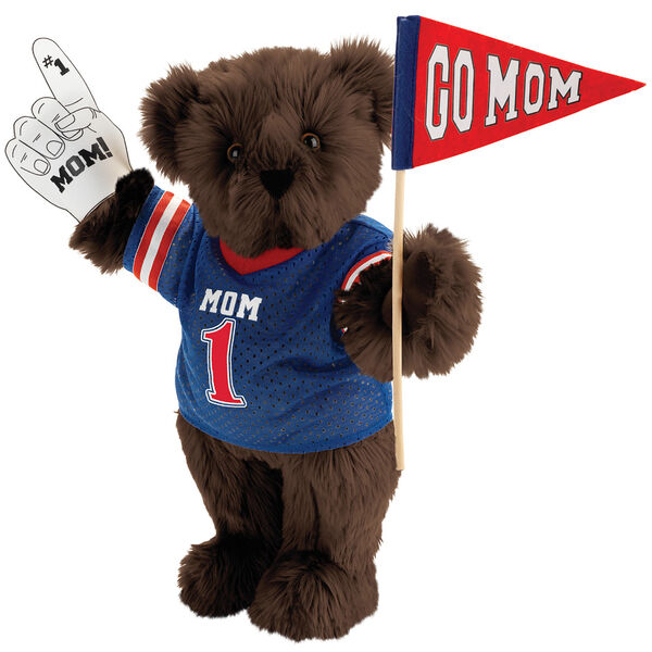 """15"""" Mom's Biggest Fan Bear - Front view of standing jointed bear dressed in a blue shirt with """"Mom 1"""" on front, holding a white foam finger that says """"#1 Mom"""" and a """"Go Mom"""" red flag - Espresso brown fur image number 5"""