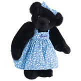"15"" Mother Bear - Three quarter view of standing jointed bear dressed in blue floral dress and hair bow personalized with ""Susan"" in purple on bodice of dress - Black fur image number 4"