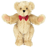"""15"""" """"I Love You"""" Bow Tie Bear - Standing jointed bear dressed in red satin bow tie; """"I Love You""""  is embroidered on red satin heart center - long Maple brown fur image number 6"""