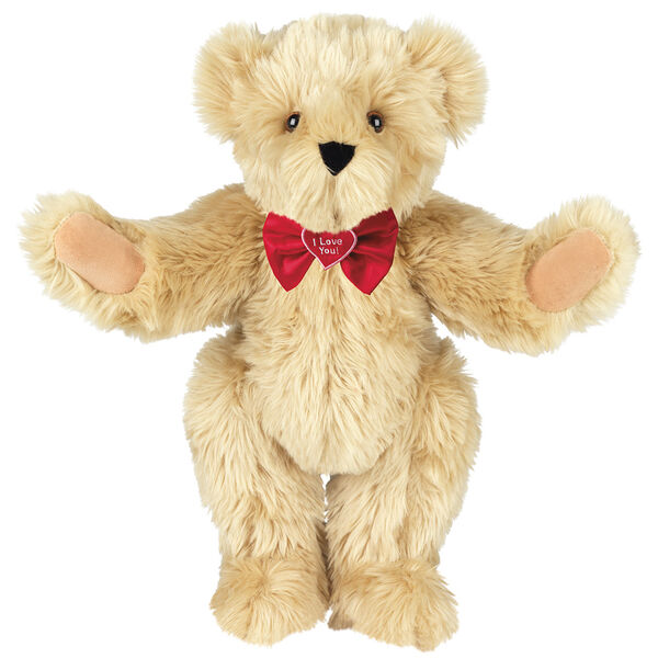 """15"""" """"I Love You"""" Bow Tie Bear - Standing jointed bear dressed in red satin bow tie; """"I Love You""""  is embroidered on red satin heart center - long Maple brown fur image number 5"""