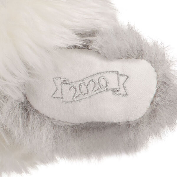 """15"""" Limited Edition Snowflake Santa - close up of bear's left paw with """"2020"""" embroider image number 5"""