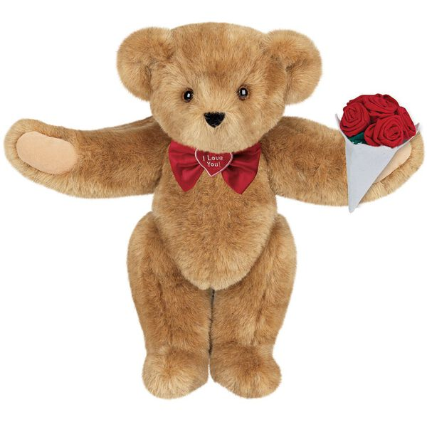 """15"""" """"I Love You"""" Bow Tie Bear with Red Roses - Standing jointed bear dressed in red satin bow tie; """"I Love You""""  is embroidered on red satin heart center - Honey brown fur image number 0"""