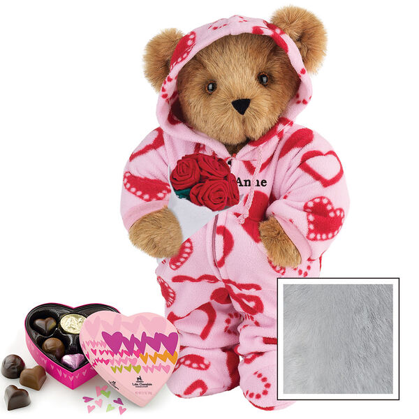 """15"""" Sweetheart Hoodie-Footie Bear with Red Roses and Chocolates - Standing jointed bear dressed in pink and red heart hoodie footie with rose bouquet and 6 pc. chocolates. Personalized with """"Anne"""" in black on left chest - Gray image number 4"""