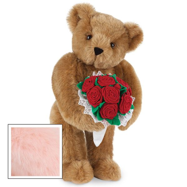 """15"""" Red Rose Bouquet Bear - Front view of standing jointed bear holding a large red bouquet wrapped in white satin and lace - Pink fur image number 5"""