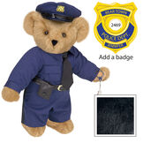 "15"" Police Officer Bear - Three quarter view of standing jointed bear dressed in a navy blue police uniform with shirt, pants, black tie and hat and holding handcuffs. Personalize with a Police badge - Black fur image number 3"