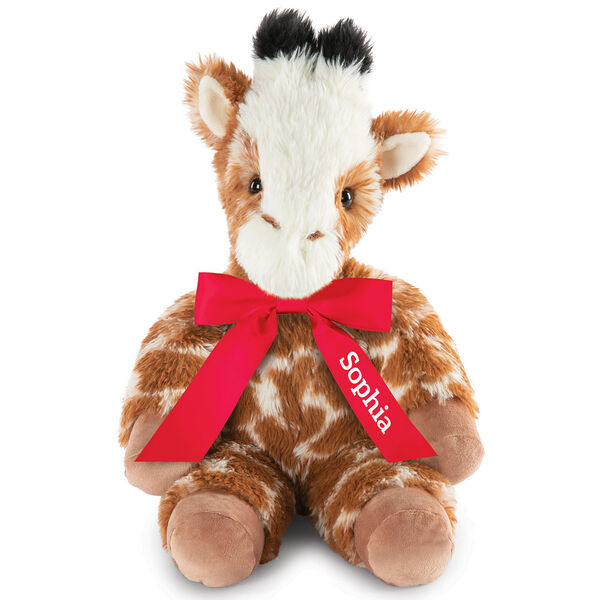 "18"" Oh So Soft Giraffe - Front view of seated brown and tan patterned Giraffe with ginger brown mane and tail, beige hooves, cream muzzle and black tipped horns wearing a red satin bow with tails personalized with ""Sophia"" in white lettering image number 2"