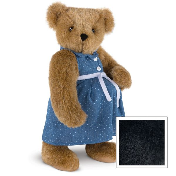 """15"""" Cub in the Oven - Three quarter view of standing pregnant jointed bear dressed in a blue dress with white dots and white belt.  image number 6"""