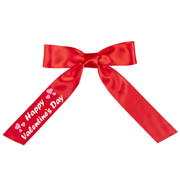 """3' to 4' Happy Valentine's Day Bow with Tails- Red satin bow with tails; right tail has """"Happy Valentine's Day"""" in white lettering image number 0"""