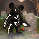 """15"""" Skeleton Bear -  Standing front view of jointed black bear with glow in the dark eyes and bones white nose and white pads.  image number 0"""