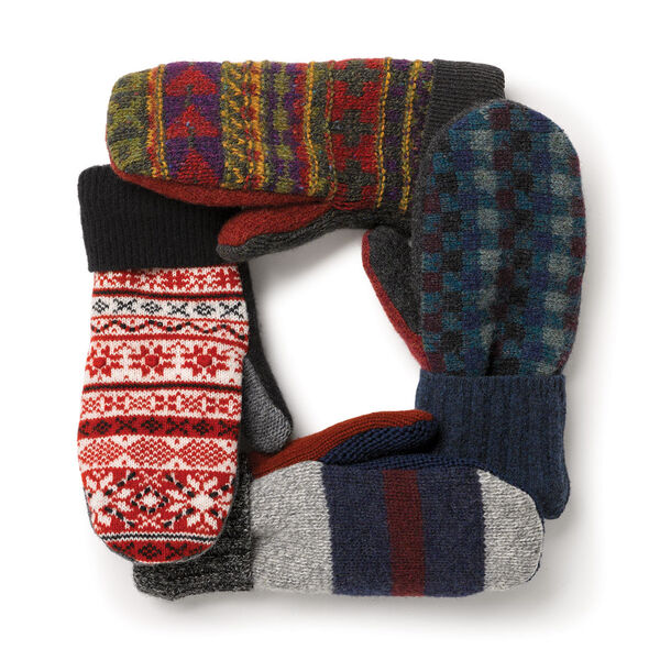 Bernie Mittens - Variety of Adult One Size Assorted multi colored wool blend mittens with fleece lining image number 6