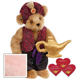 """15"""" Your Wish Is My Command Bear - Front view of standing jointed bear dressed in a red brocade turban and vest, purple belt and black satin pants. Comes with gold genie lamp and 3 wish cards - Pink image number 5"""