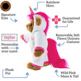 "15"" Unicorn Hoodie Bear - Standing jointed bear dressed in a white hoodie footietext says, ""Signature Eyes; Rainbow Horn; Guaranteed For Life; Removable, Soft Fleece, Unicorn Costume; Wild Pink Mane and Tail; Plush Fur; Personalize with your Name"".  image number 1"