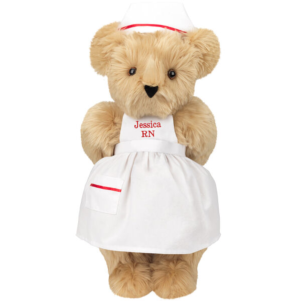 """15"""" Nurse Bear - Front view of standing jointed bear dressed in white nurse's dress and hat with red trim perosnlized with """"Kim RN"""" on bib of dress in red - Maple brown fur image number 6"""