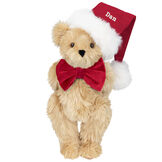 """15"""" Christmas Classic Bear - Standing jointed bear dressed in white red velvet bow tie with red velvet santa hat with white fur trim. Hat is personalized with """"Dan"""" above the fur  - Maple brown fur image number 3"""