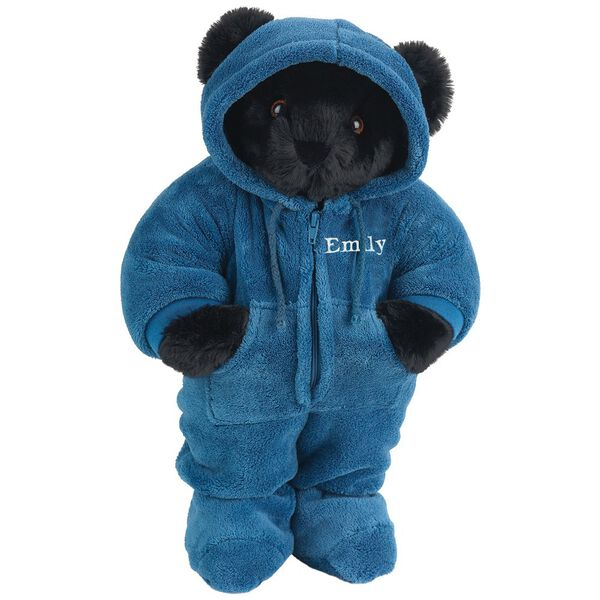 "15"" Hoodie-Footie Bear Blue - Front view of standing jointed bear dressed in blue hoodie footie personalized with ""Emily"" in white on left chest - Black fur image number 3"