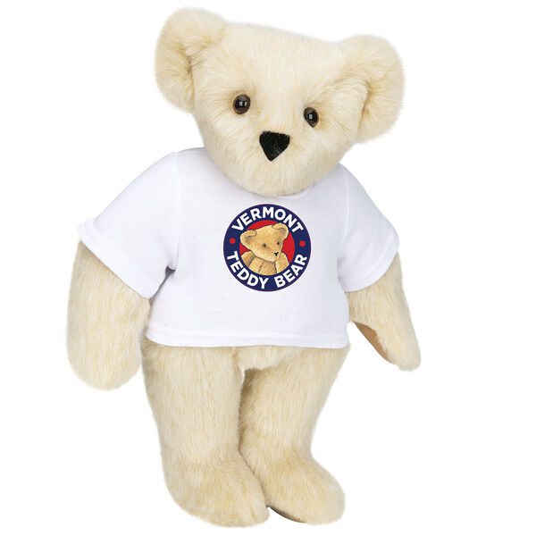 "15"" Classic Vermont Teddy Bear Logo T-Shirt Bear - Front view of standing jointed bear dressed in white t-shirt with Vermont Teddy logo on front - Buttercream brown fur image number 1"