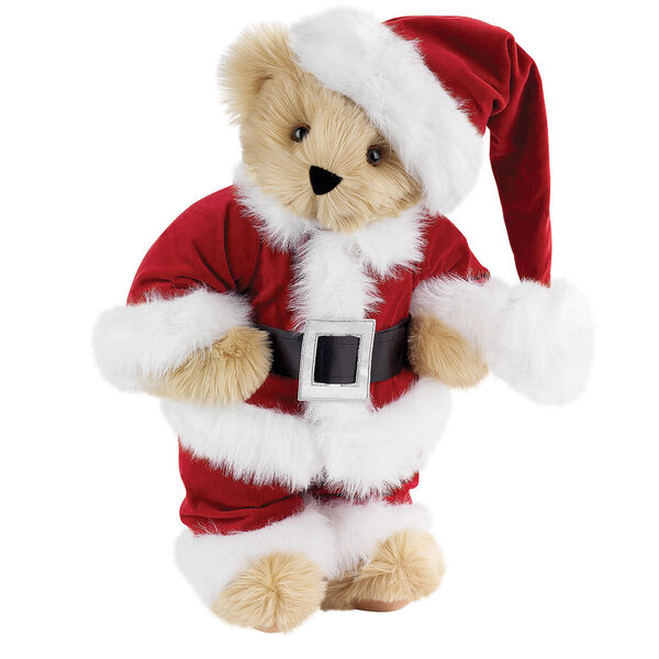 "15"" Santa Claus Bear - Front view of standing jointed bear dressed in red velvet and white fur Santa suit with pants, coat and hat and black blet - Maple brown fur image number 3"