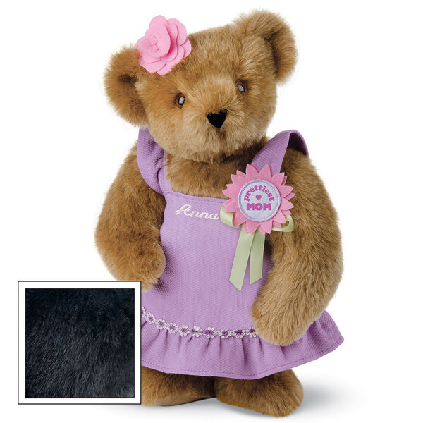 """15"""" Prettiest Mom Ever Bear - Front view of standing jointed bear dressed in a lilac sundress with felt flower pin that says """"Prettiest Mom"""" in pink and pink flower on ear; personalized with """"Anna"""" in cream on front of dress - Black fur image number 3"""