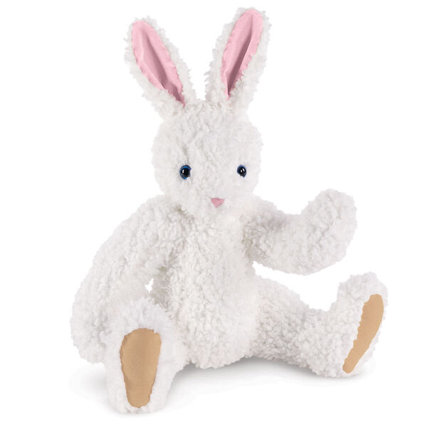 "16"" Classic Curly White Bunny  - Front view of seated jointed rabbit with blue eyes, pink nose and ears and beige foot pads - curly white fur image number 0"