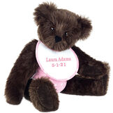 """15"""" Baby Girl Bear - Seated jointed bear dressed in pink with white dots fabric diaper and bib. Bib with """"Laura Adams"""" and """"5-1-21"""" in light pink lettering - Espresso brown fur image number 9"""
