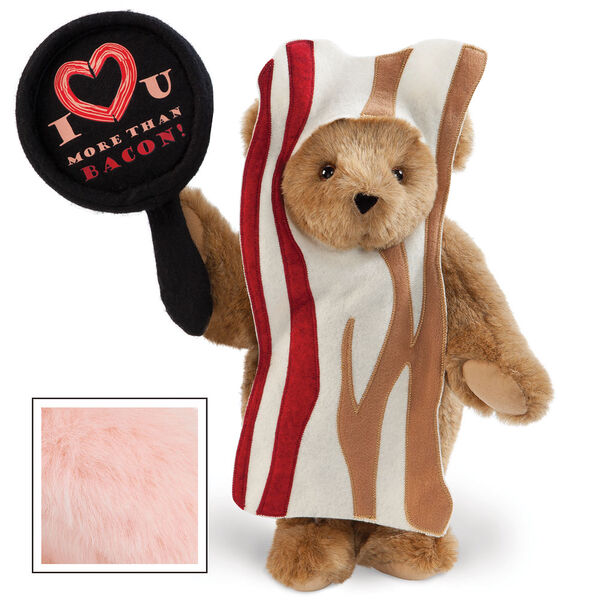 """15"""" I Love You More than Bacon - Front view of standing jointed bear dressed in tan bacon costume holding a pan that says""""I """"heart"""" U more than bacon!"""" - Pink image number 5"""
