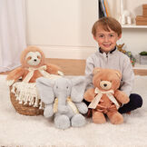 "13"" Cuddle Cub Elephant with Bow - Bear, Elephant and Sloth in a bedroom scene with a boy in pajamas image number 6"