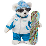"15"" Snowboarder Bear - Front view of standing jointed bear dressed in a blue and white snow jacket, blue pants, sunglasses and holding a snowboard with graphics. Jacket is personalized with ""Jason"" on the left chest - Vanilla white fur image number 2"