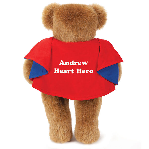 "15"" Love Your Heart Bear - Honey Bear with Red Cape personalized on back with Andrew, Heart Hero image number 5"