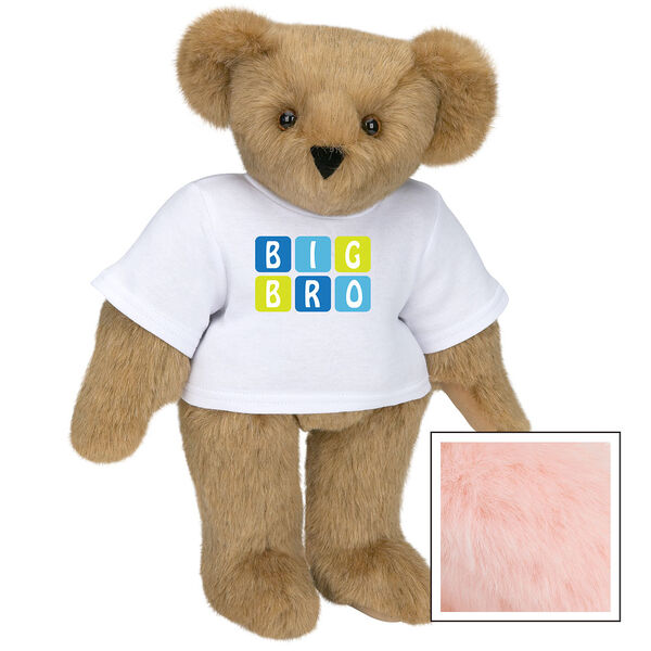 """15"""" BIG BRO T-Shirt Bear - Standing jointed bear dressed in white t-shirt with blue and green graphic that says, """"Big Bro' - Pink image number 5"""