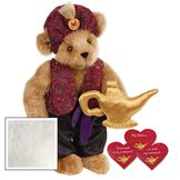 """15"""" Your Wish Is My Command Bear - Front view of standing jointed bear dressed in a red brocade turban and vest, purple belt and black satin pants. Comes with gold genie lamp and 3 wish cards - Vanilla white fur image number 2"""