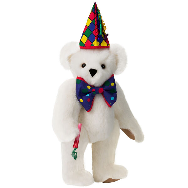 "15"" Celebration Bear - Standing jointed bear dressed in colorful diamond print party hat with ribbon streamers, a blue dot bow tie holding a party horn  - Vanilla white fur image number 2"