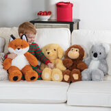 "18"" Oh So Soft Fox - 18"" Monkey, 18"" Fox, 18"" Puppy and 18"" Koala sitting on a couch with a boy in pajamas in a living room setting image number 8"