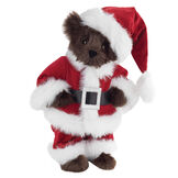 "15"" Santa Claus Bear - Front view of standing jointed bear dressed in red velvet and white fur Santa suit with pants, coat and hat and black blet - Espresso brown fur image number 4"