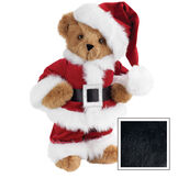 """15"""" Santa Claus Bear - Front view of standing jointed bear dressed in red velvet and white fur Santa suit with pants, coat and hat and black belt - Black image number 3"""