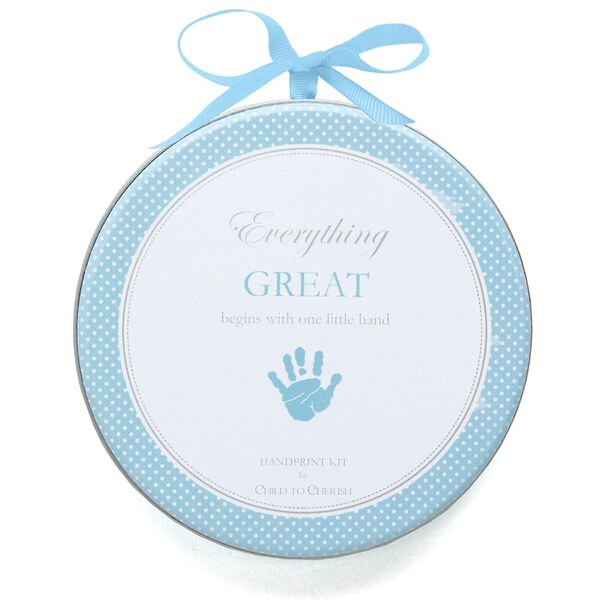 Handprint kit - Clay dough baby handprint kit in decorative tin with light blue theme image number 0