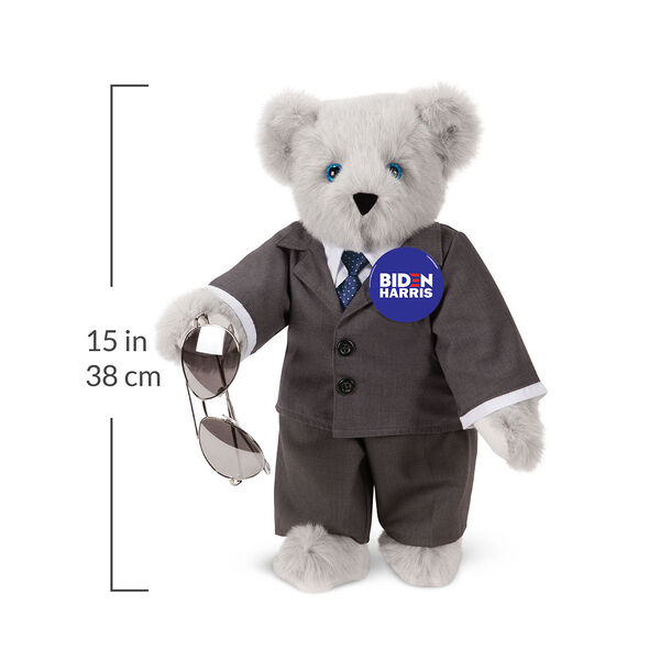 """15"""" Joe Biden Bear - Standing Gray Bear with Blue eyes, gray suit, blue tie, aviator glasses, and campaign pin with a 15 inch measurement to the right of the bear.  image number 2"""