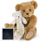"15"" Cuddle Buddies Gift Set - Front view of seated jointed bear with ivory bear blanket with stroller strap personalized with ""Emily"" in gold lettering on corner of blanket image number 3"