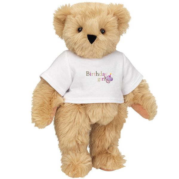 """15"""" Birthday Girl T-Shirt Bear - Standing jointed bear dressed in white t-shirt with colorful graphic that says, """"Birthday Girl' with purple cupcake and one candle - Maple brown fur image number 6"""